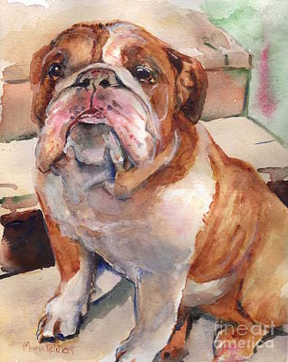 Watercolor Pet Portraits Painting - Anchor  by Maria's Watercolor