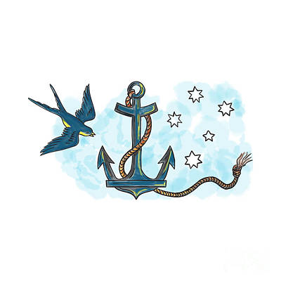 Swallow Digital Art - Anchor Swallow Southern Star Tattoo by Aloysius Patrimonio