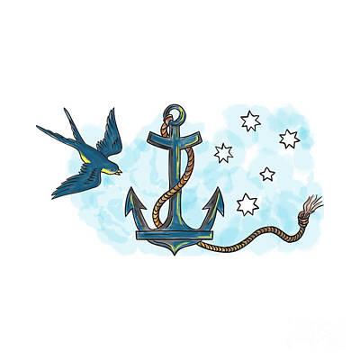 Swallow Digital Art - Anchor Swallow Southern Star Tattoo by Aloysius Patrimonio