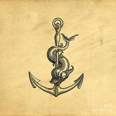 Beach House Drawing - Anchor Vintage by Edward Fielding