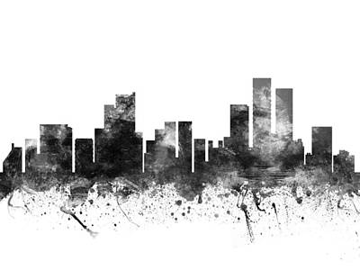 Towns Digital Art - Anchorage Alaska Cityscape 02bw by Aged Pixel