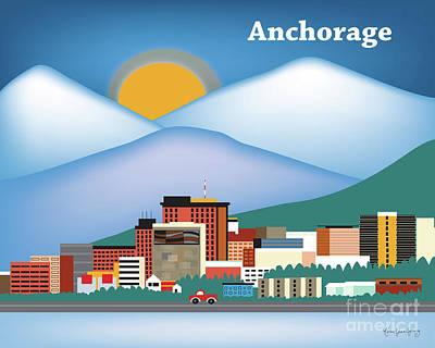 Mountain Sunset Digital Art - Anchorage Alaska Horizontal Skyline by Karen Young