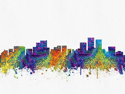 Alaska Digital Art - Anchorage Alaska Skyline Color02 by Aged Pixel