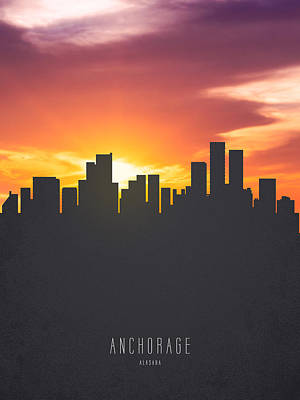 Skylines Paintings - Anchorage Alaska Sunset Skyline 01 by Aged Pixel