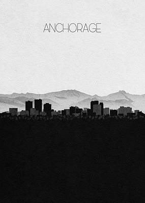 Digital Art - Anchorage Cityscape Art by Inspirowl Design