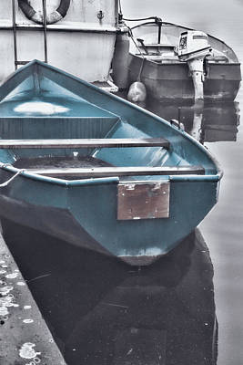 Photograph - Anchored Blue Boat by Mihaela Pater