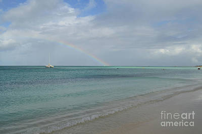 Photograph - Anchored Catamaran With A Rainbow In The Sky by DejaVu Designs