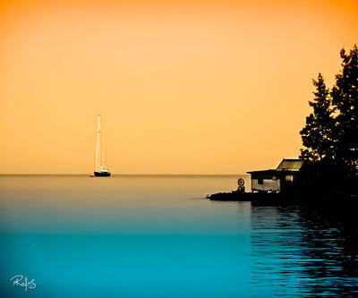 Anchored Near A Temple - Sureal Art Print by Allan Rufus