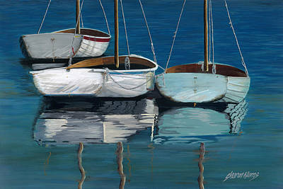 Sailboats Painting - Anchored Reflections I by Sharon Kearns
