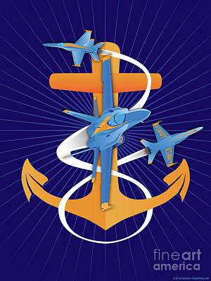 Digital Art - Anchors Aweigh Blue Angels Fouled Anchor By Joe Barsin by Joe Barsin