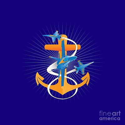 Digital Art - Anchors Aweigh Blue Angels Fouled Anchor by Joe Barsin
