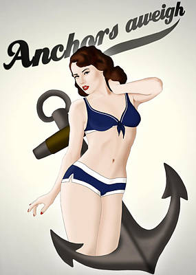 Art Print featuring the drawing Anchors Aweigh - Classic Pin Up by Nicklas Gustafsson