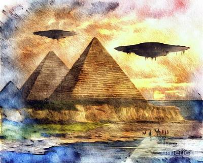 Science Fiction Royalty-Free and Rights-Managed Images - Ancient Aliens and Ancient Egypt by Raphael Terra