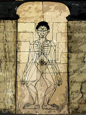 Mixed Media - Ancient Art Mural Depicting The Sen Lines by Helissa Grundemann