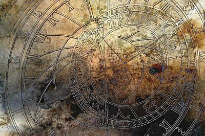 Steampunk Royalty-Free and Rights-Managed Images - Ancient Astrology Clock by Marianna Mills