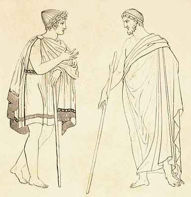 Philosophizing Drawing - Ancient Athenians Exchanging by Vintage Design Pics