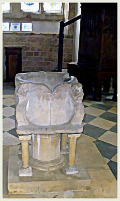 Baptism Digital Art - Ancient Baptismal Font by Mindy Newman