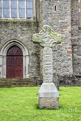 Photograph - Ancient Celtic Cross At Down Cathedral In Downpatrick Ireland by Vizual Studio