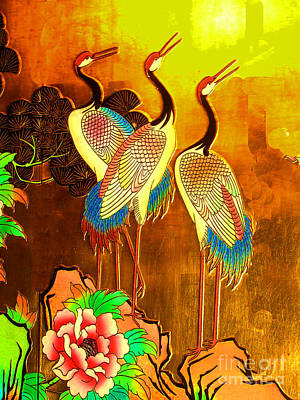 Photograph - Ancient Chinese Painting No. 2 - Cranes by Merton Allen