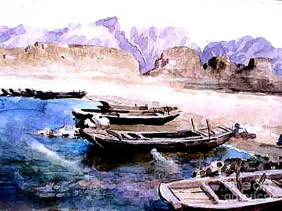 Photograph - Ancient Chinese Watercolor Painting - Guanting Reservoir  by Merton Allen