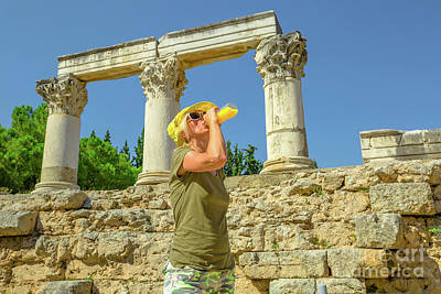 Photograph - Ancient Corinth Travel Woman by Benny Marty