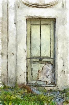 Ancient Doorway Rome Italy Pencil Art Print