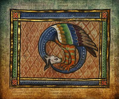 Manuscript Digital Art - Ancient Dragon Celtic Art by Terry Fleckney