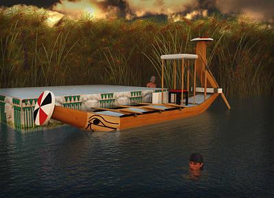 Ancient Egypt Leisure Boat Art Print