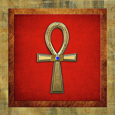 Digital Art - Ancient Egyptian Sacred Cross Ankh by Serge Averbukh