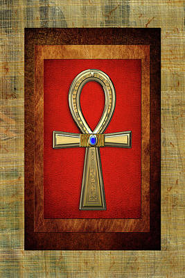Digital Art - Ancient Egyptian Sacred Cross Ankh - The Key Of Life by Serge Averbukh