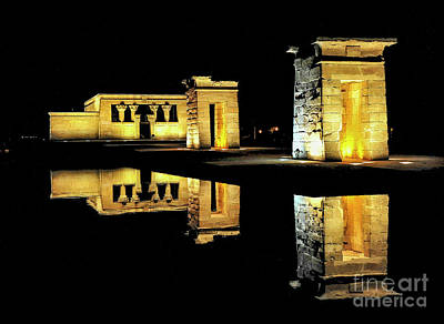 Gothic Ancient Egyptian Photograph - Ancient Egyptian Temple Of Debod - Madrid by Yefim Bam