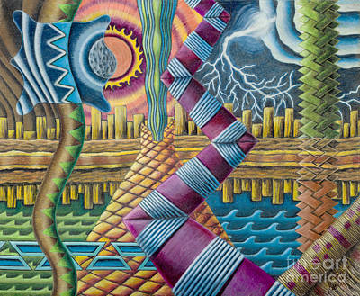 Colored Pencil Abstract Drawing - Ancient Elements by Scott Brennan