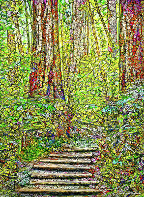 Art Print featuring the digital art Ancient Forest Path - Tamalpais California by Joel Bruce Wallach