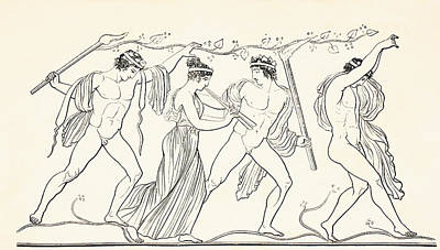 Nude Old Men Drawing - Ancient Grecian Revellers. From El by Vintage Design Pics