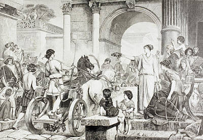 Olympics Drawing - Ancient Greek Olympic Games. The Winner by Vintage Design Pics