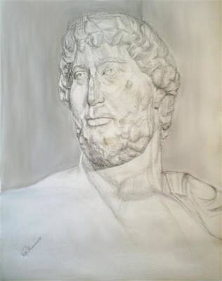 Drawing - Ancient Greek Statue by Elly Potamianos