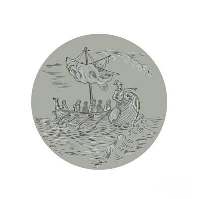 Ancient Greek Trireme Warship Circle Drawing Art Print by Aloysius Patrimonio