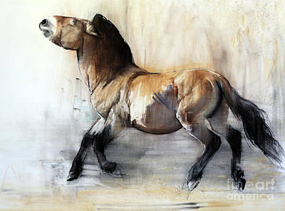 Ancient Horse Przewalski In Winter Art Print