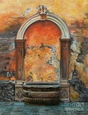 Italian Landscape Painting - Ancient Italian Fountain by Charlotte Blanchard