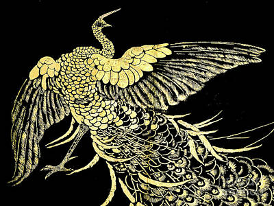 Tapestry - Textile - Ancient Japanese Golden Cockerel - Museumtapestry -  by Merton Allen