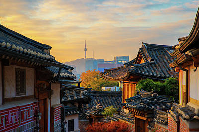 Photograph - Ancient Korean Town In Autumn And Morning Sunrise by Anek Suwannaphoom