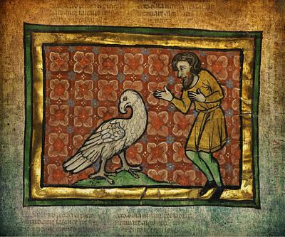 Manuscript Digital Art - Ancient Man With Falcon Celtic Art by Terry Fleckney