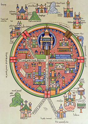 Medieval Temple Drawing - Ancient Map Of Jerusalem And Palestine by French School