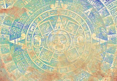 Ancient Mayan Calendar, Abstract Color Background. Art Print