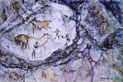 Abstract Horses Mixed Media - Ancient Messages No. 121 by Catherine Foster