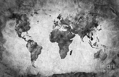 Burnt Photograph - Ancient Old World Map by Michal Bednarek