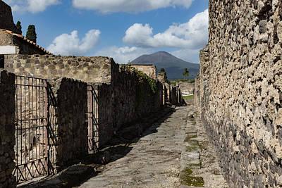 Ancient Pompeii - Empty Street And Mount Vesuvius Volcano That Caused It All Art Print