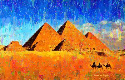 Desert Painting - Ancient Pyramids - Pa by Leonardo Digenio