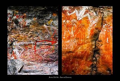 Photograph - Ancient Rock Art - Dance And Celebrations - Nourlangie - Kakadu National Park by Lexa Harpell