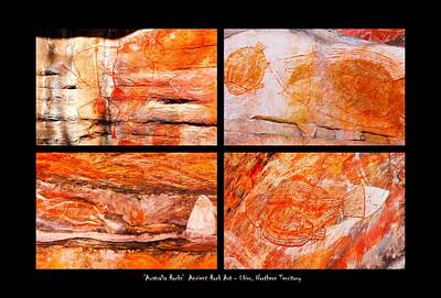 Photograph - Ancient Rock Art - Fish And Hunter - Kakadu National Park by Lexa Harpell